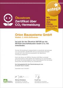 Ökostrom Zertifikat über CO2-Vermeidung